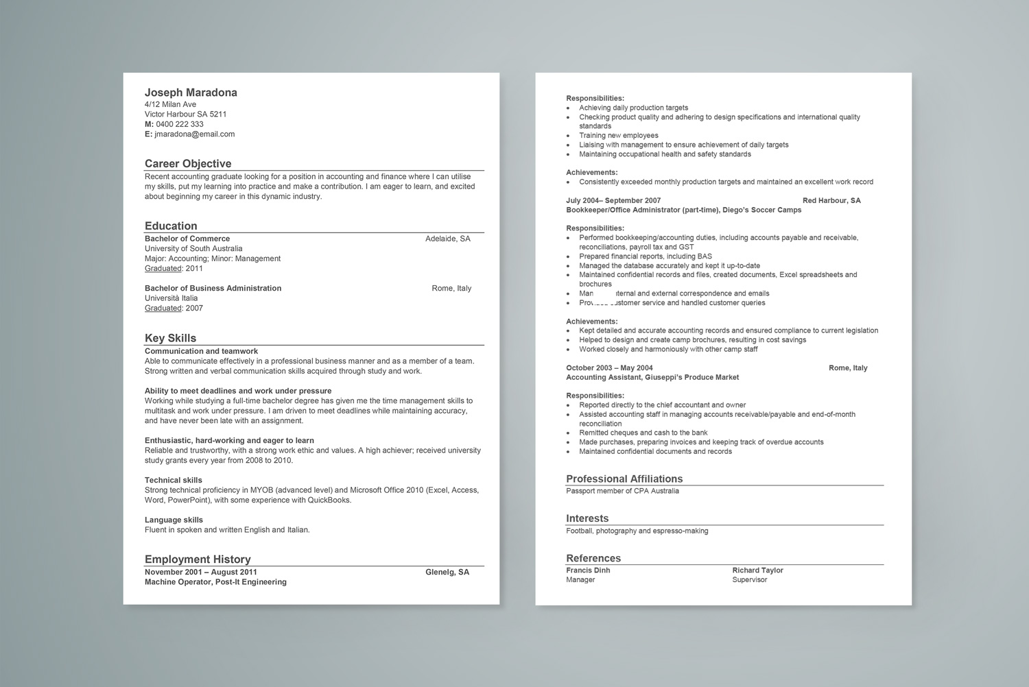 Resume Template Download Free Word Accounting Graduate Sample Resume  Career Faqs Resume For Food Server Pdf with Follow-up Email After Resume Word Free Resume Template Intership Resume Word