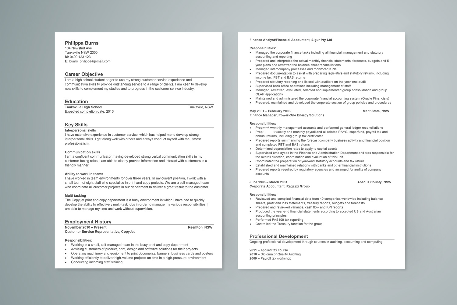 sample resume for high school