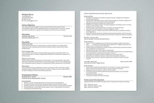 High School Student Sample Resume
