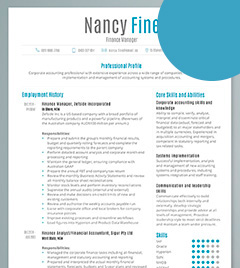 resume template paris - Finance Manager Resume Template