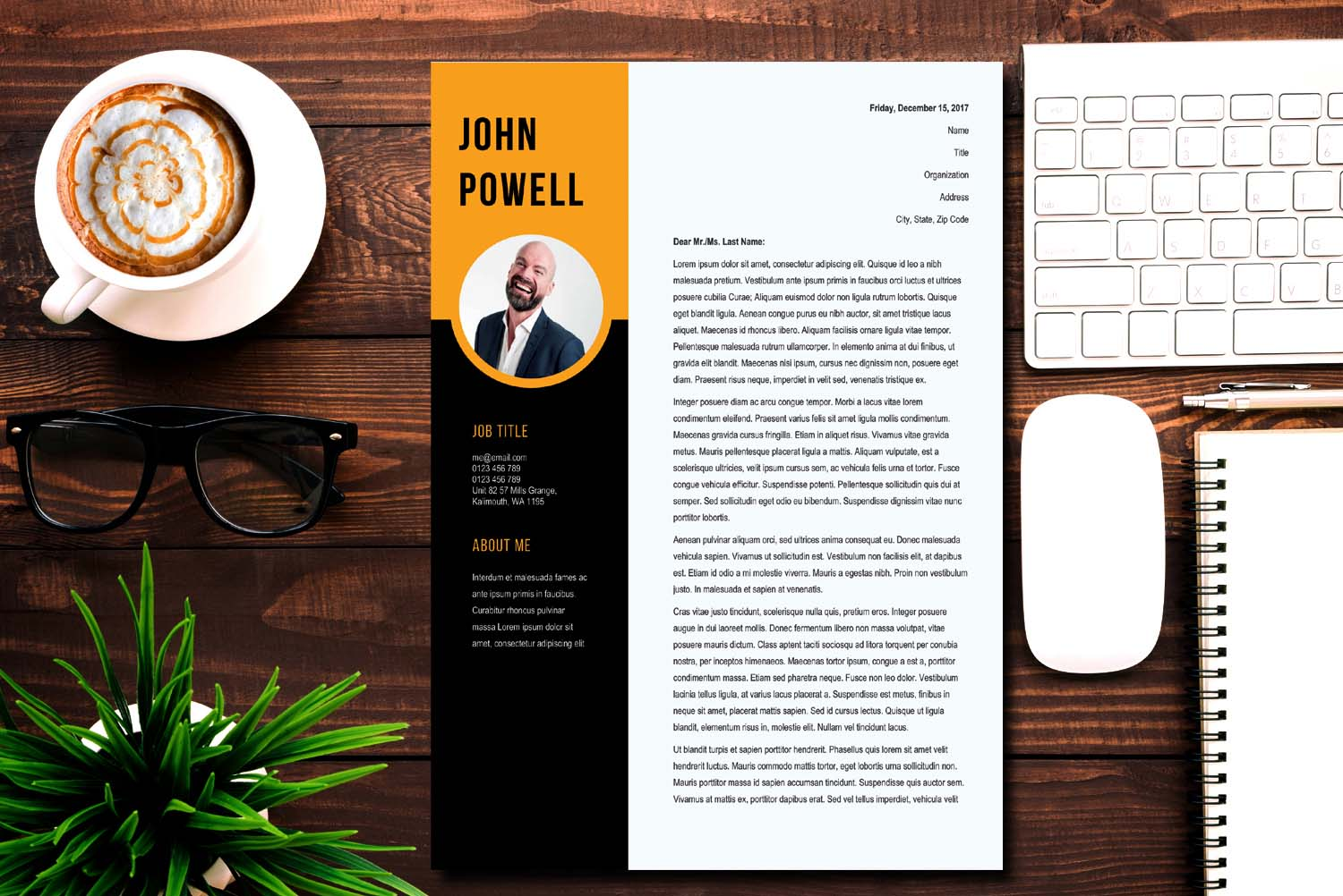 Amsterdam Black Word Cover Letter Template