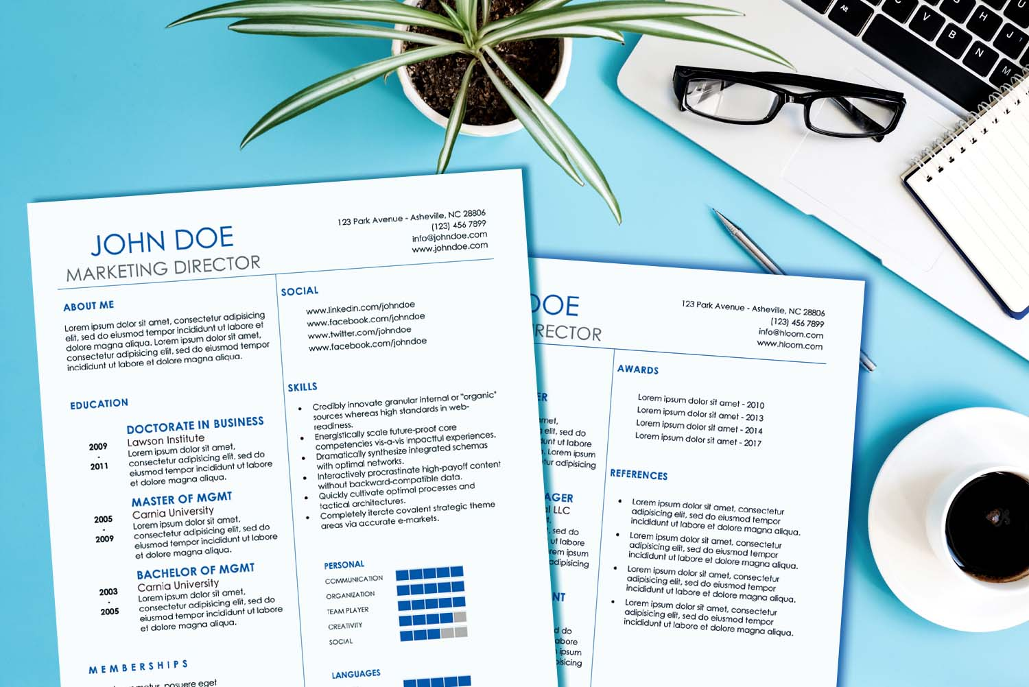 Athens Blue Word Resume Template