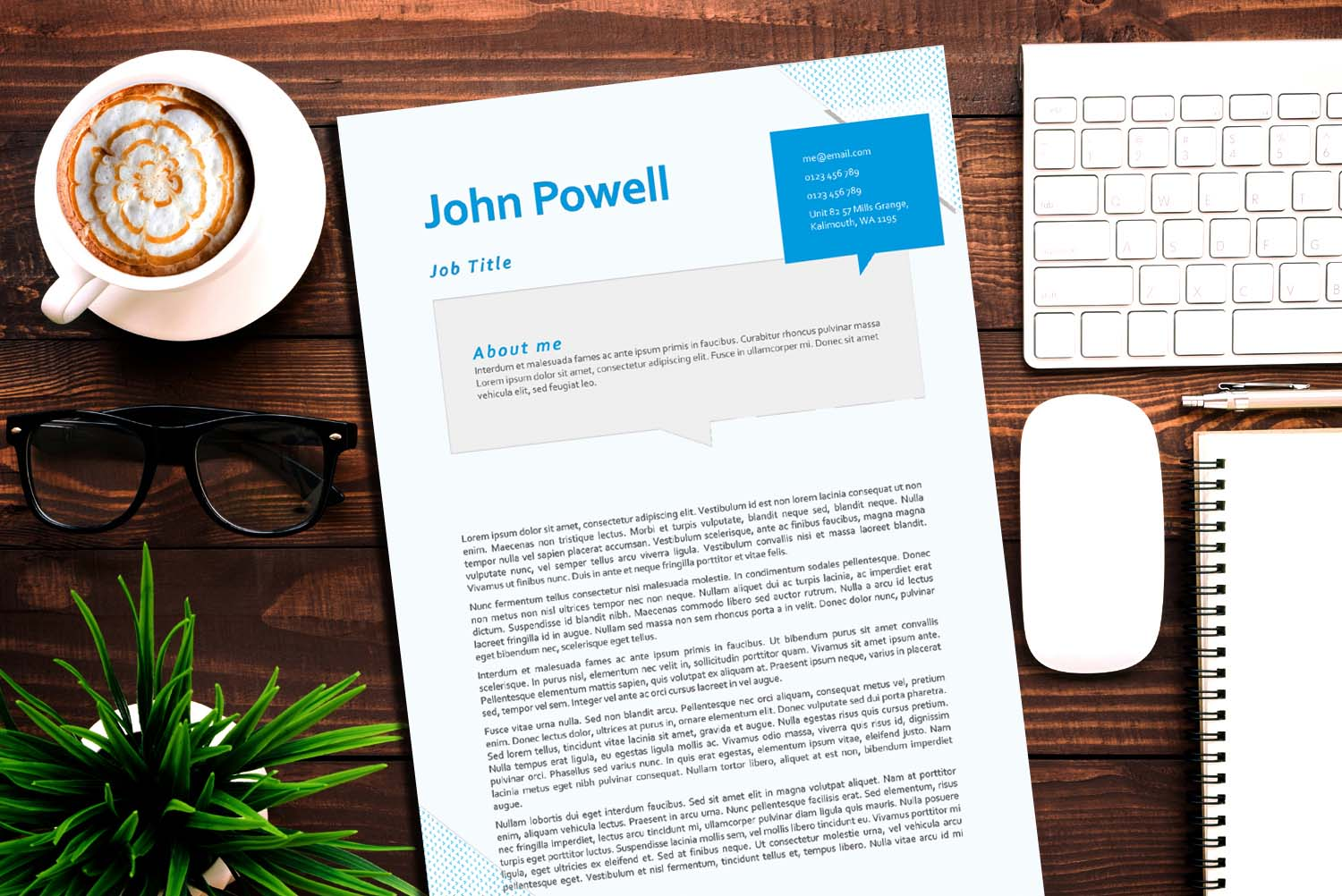 Berlin Blue Word Cover Letter Template