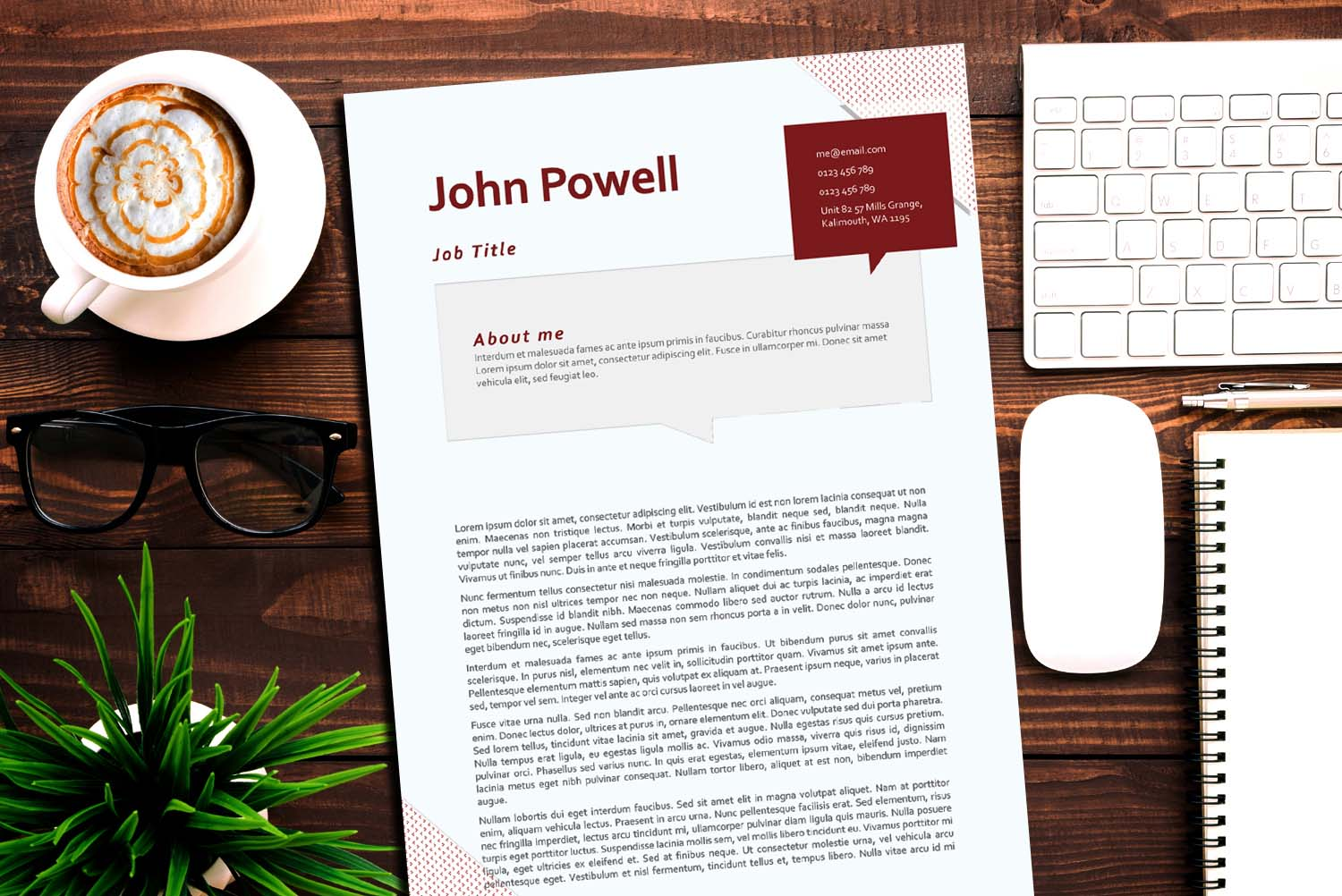 Berlin Red Word Cover Letter Template