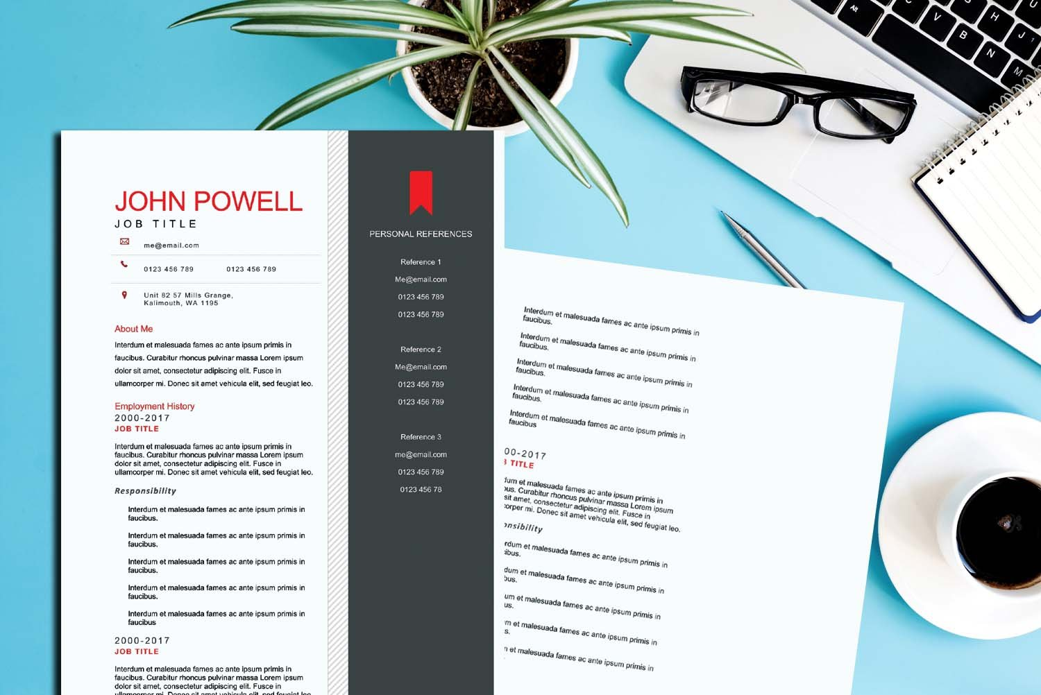 Cairo Red Word Resume Template