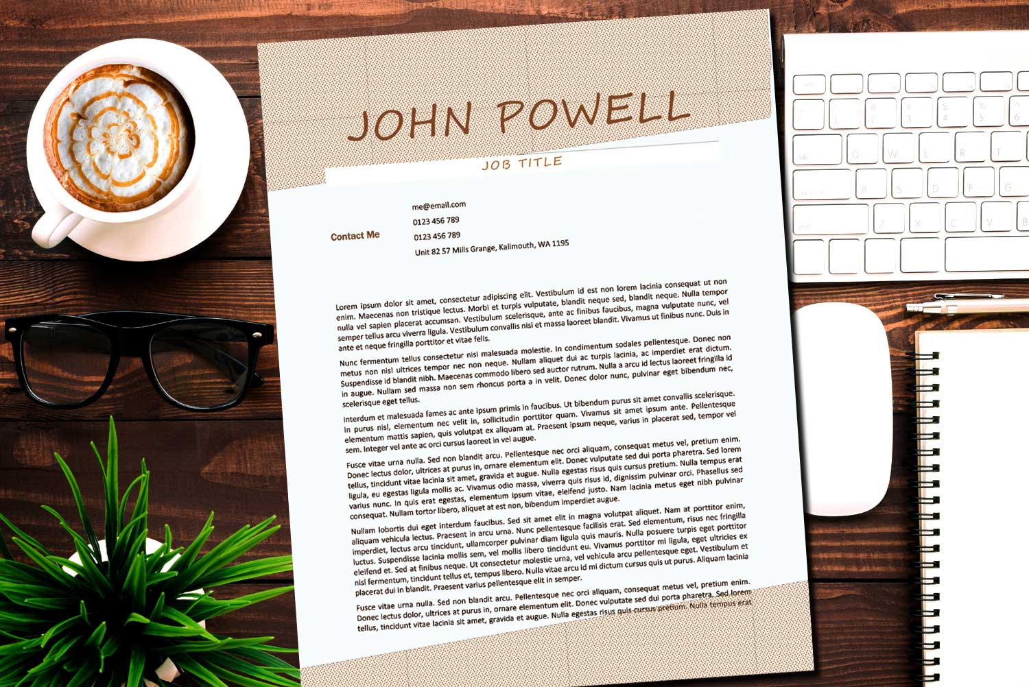 Chicago Brown Word Cover Letter Template