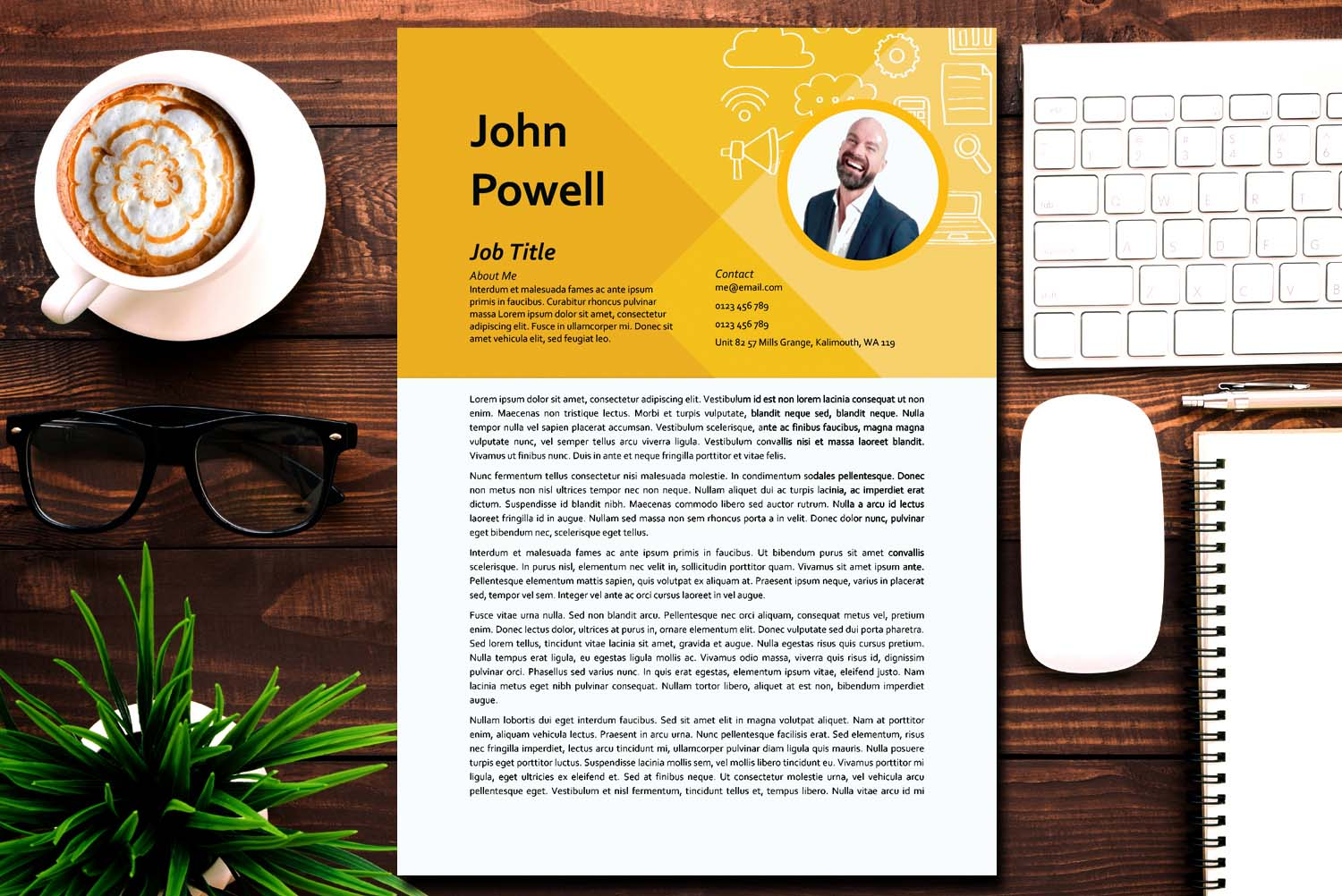 Hanoi Yellow Word Cover Letter Template