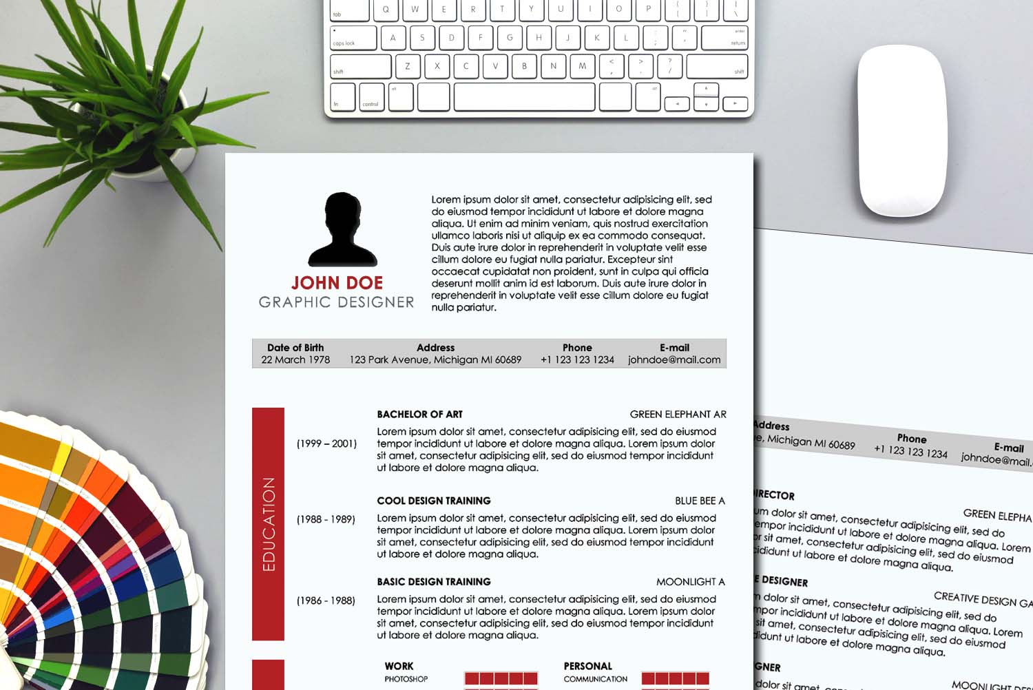 Lisbon Red Word Resume Template