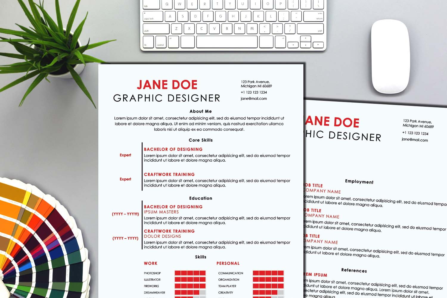 London Red Word Resume Template