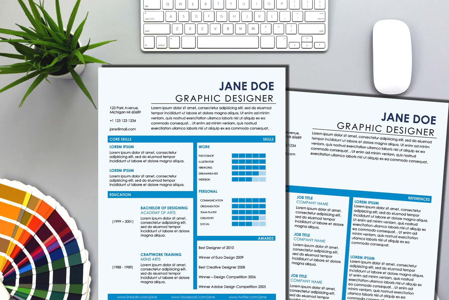 Moscow Blue Word Resume Template
