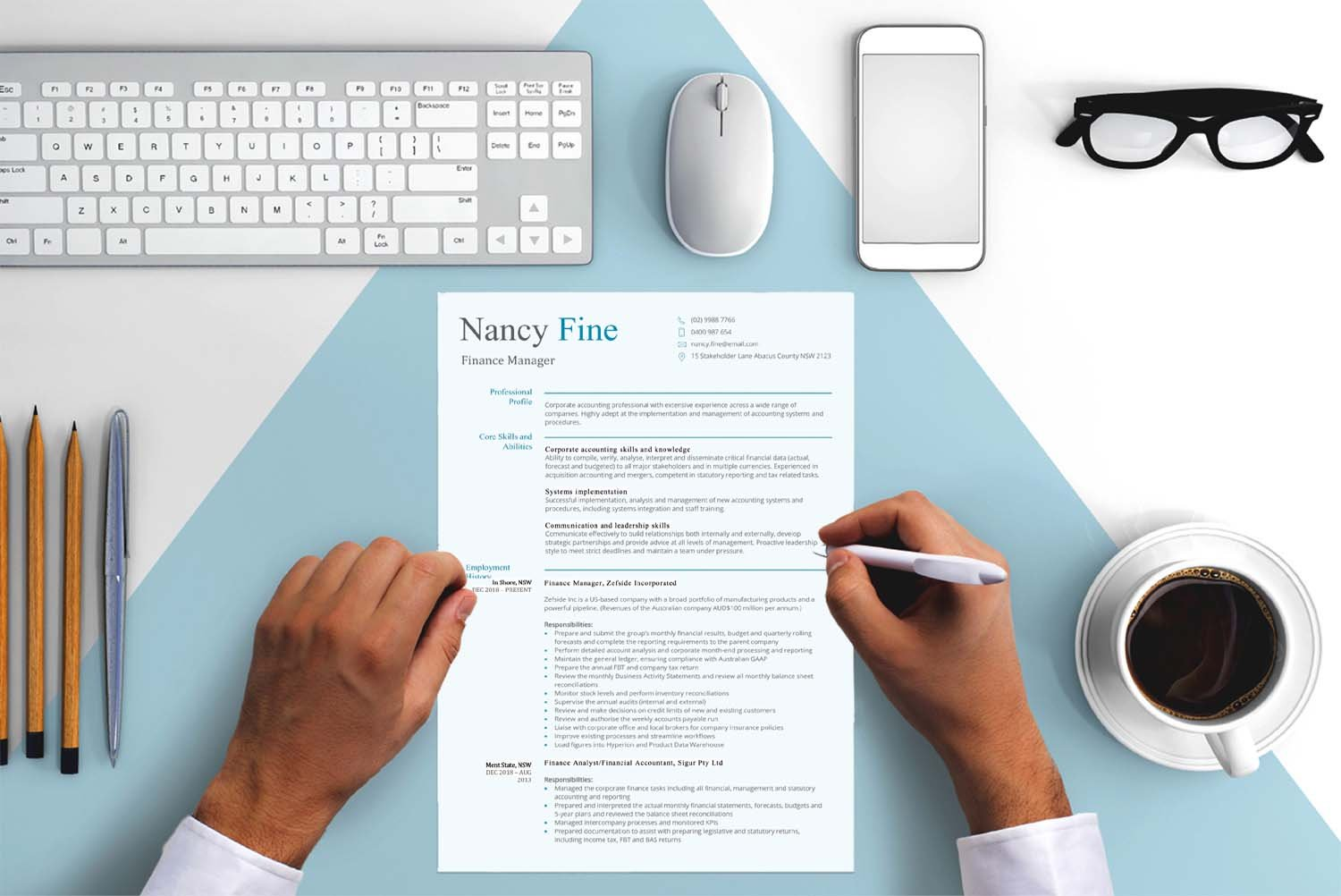 Paris Blue Word Finance Manager Resume Template