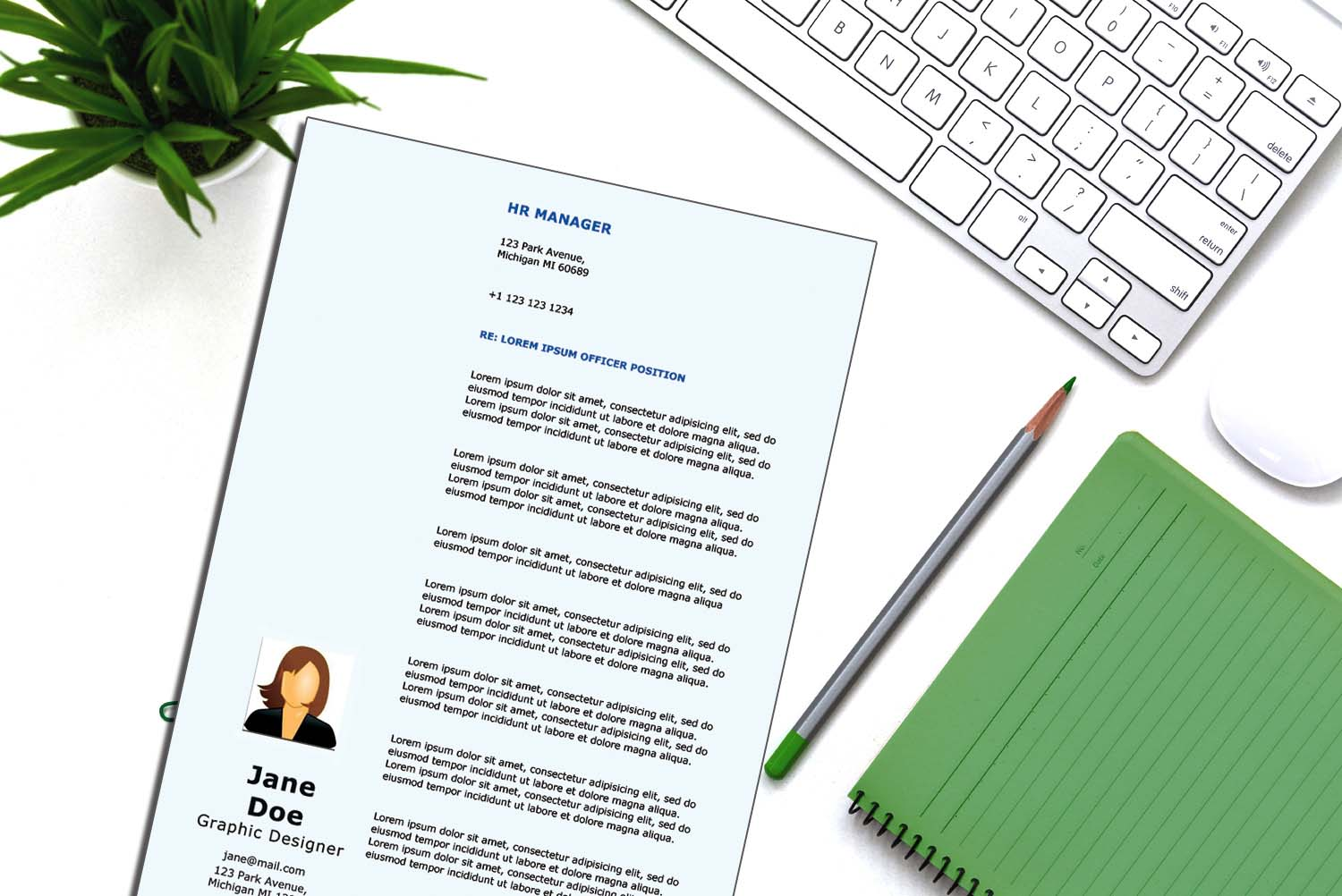 Rome Blue Word Cover Letter Template