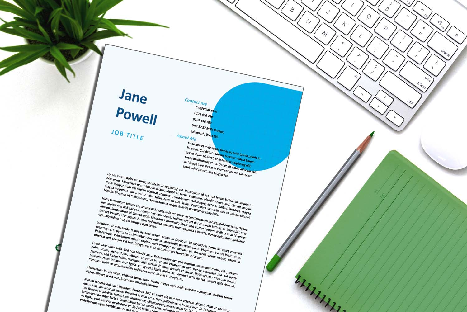 Santiago Blue Word Cover Letter Template