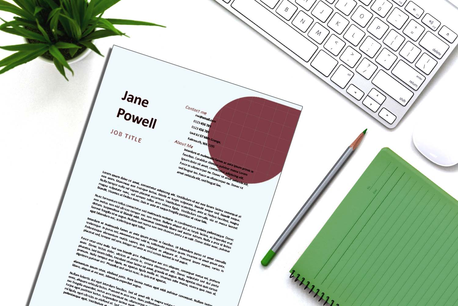 Santiago Burgundy Word Cover Letter Template