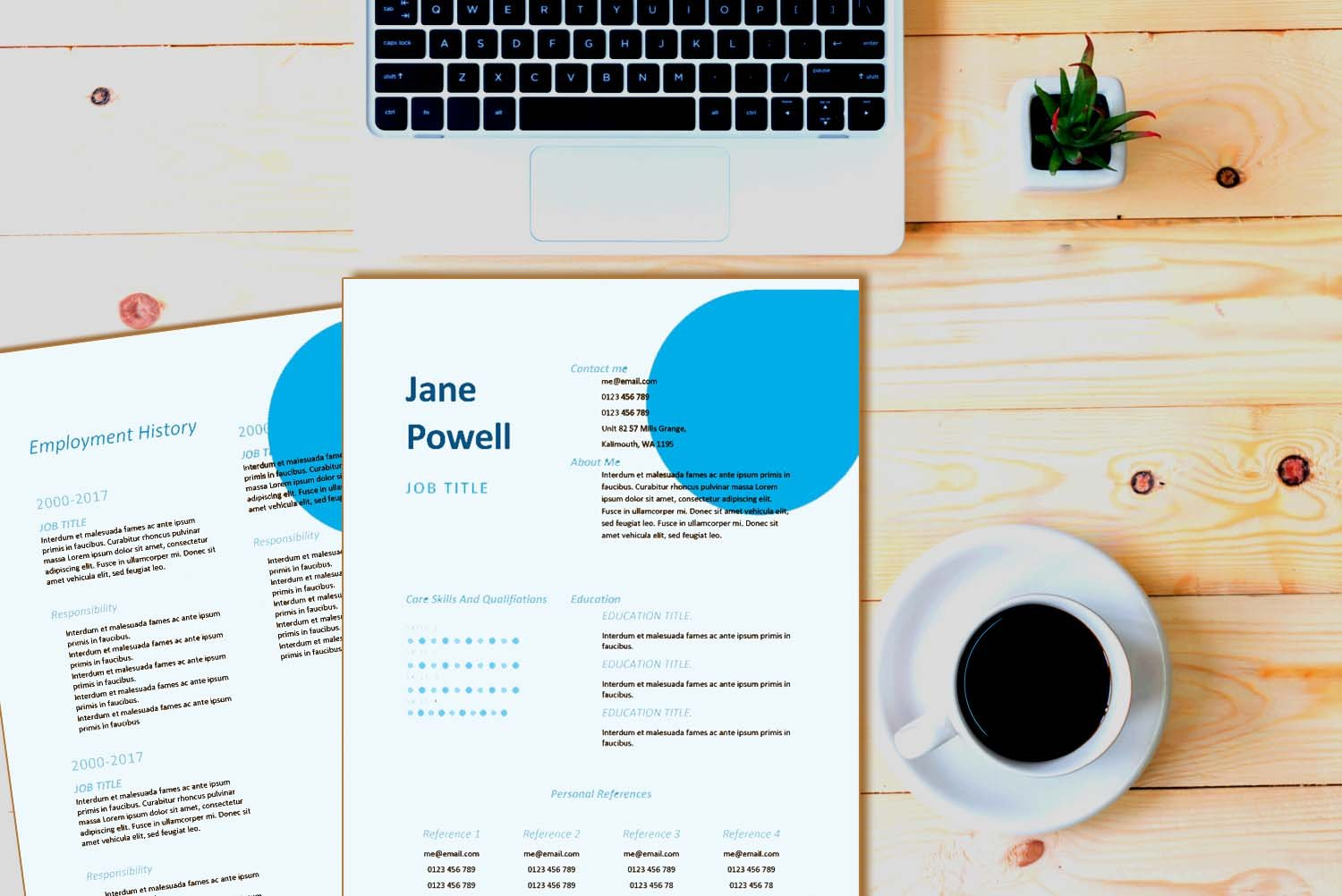 Santiago Blue Word Resume Template