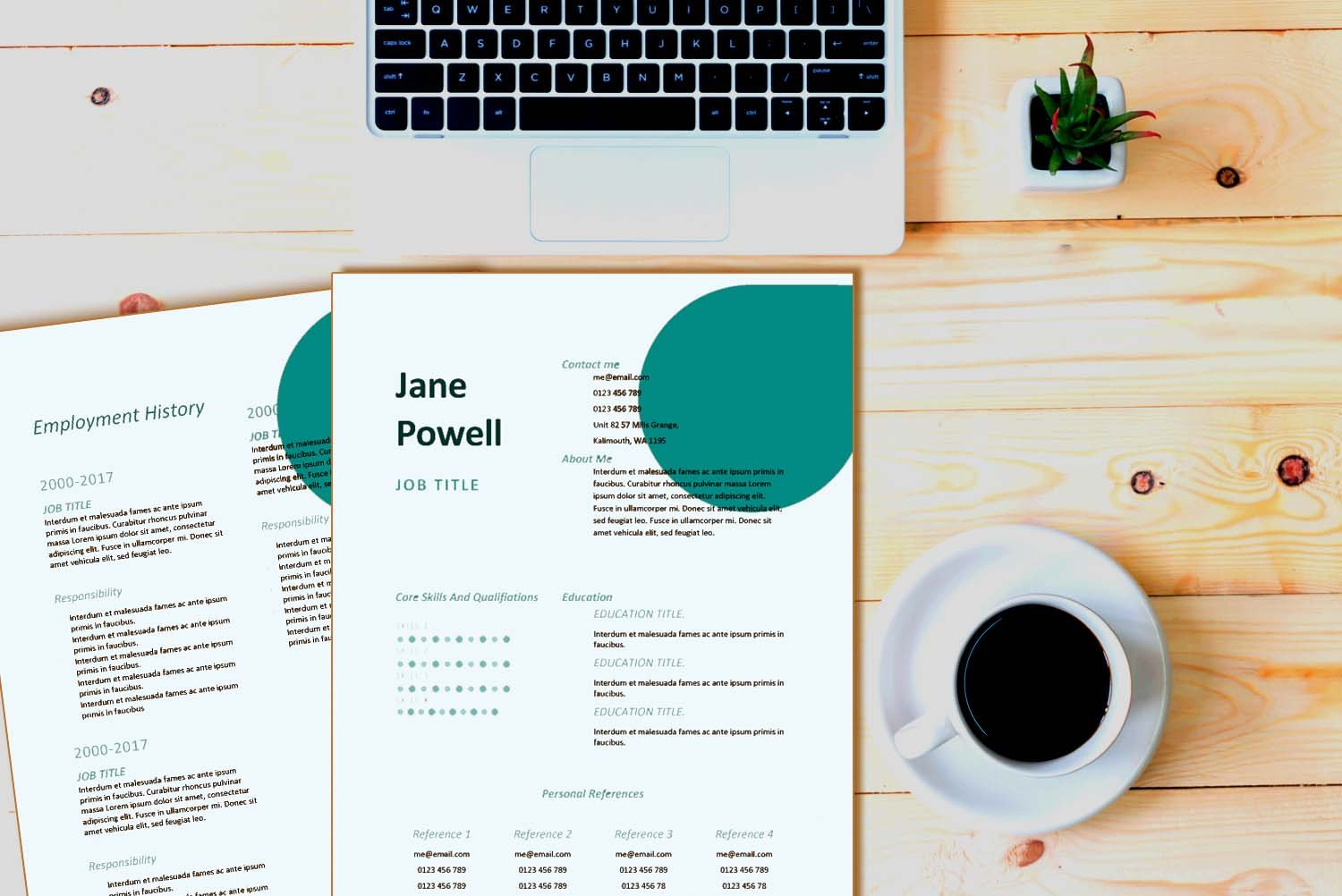 Santiago Teal Word Resume Template