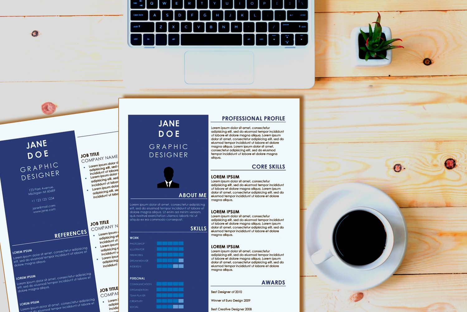 Seoul Blue Word Resume Template