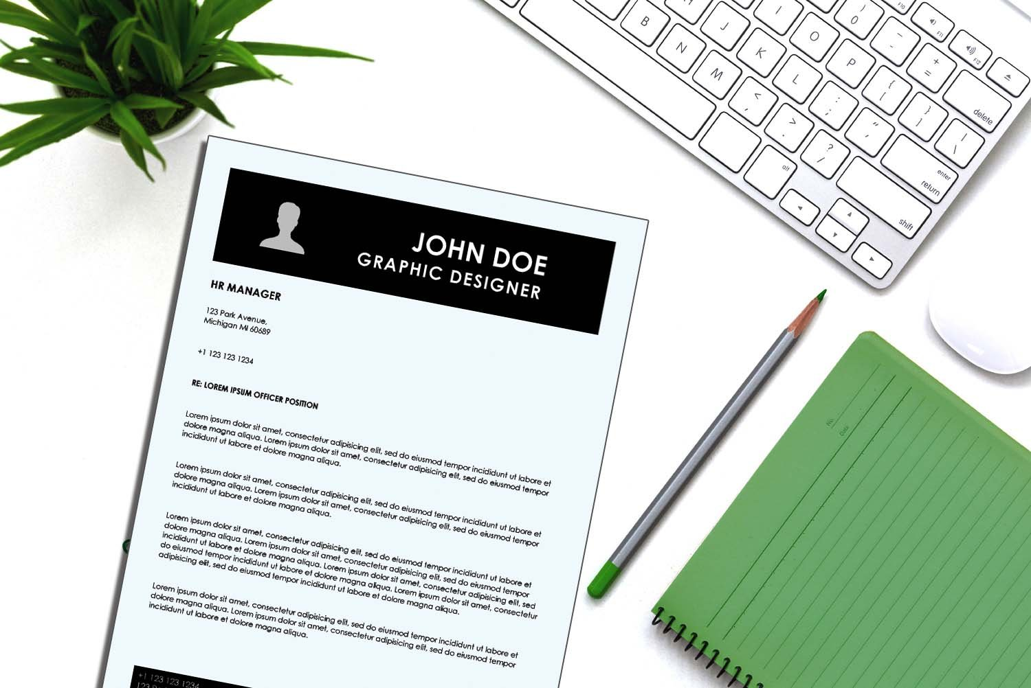 Singapore Black Word Cover Letter Template