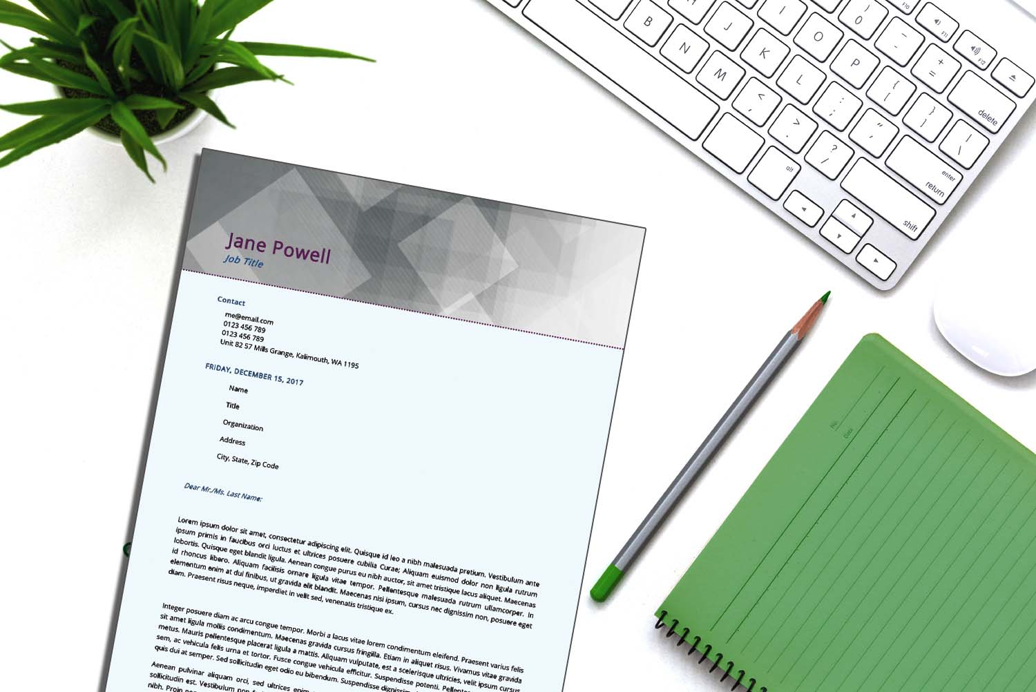Sydney Purple Word Cover Letter Template