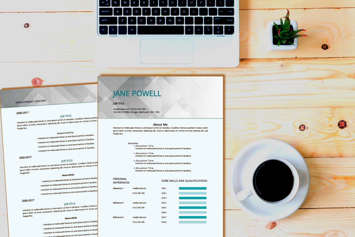 Sydney Teal Word Resume Template