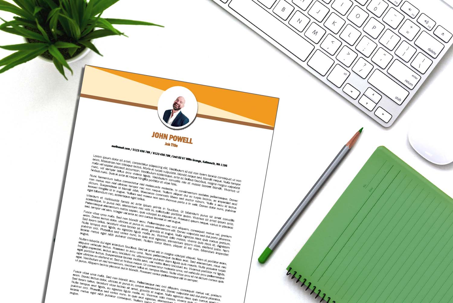 Toronto Orange Word Cover Letter Template