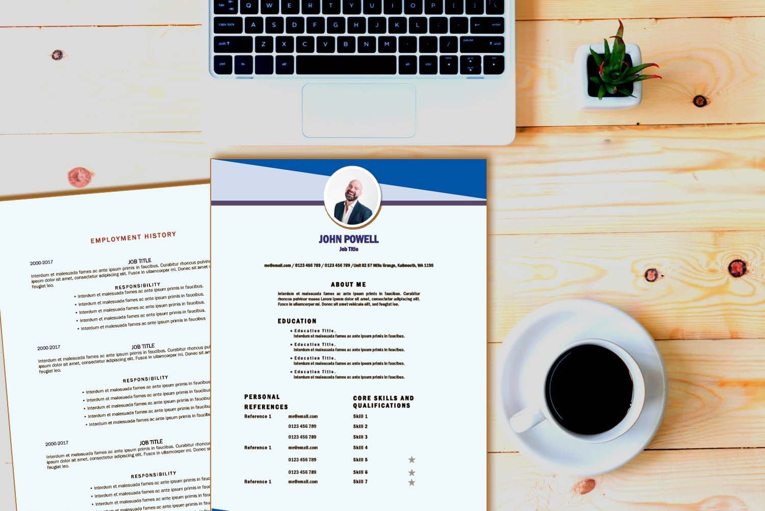 Toronto Blue Word Resume Template