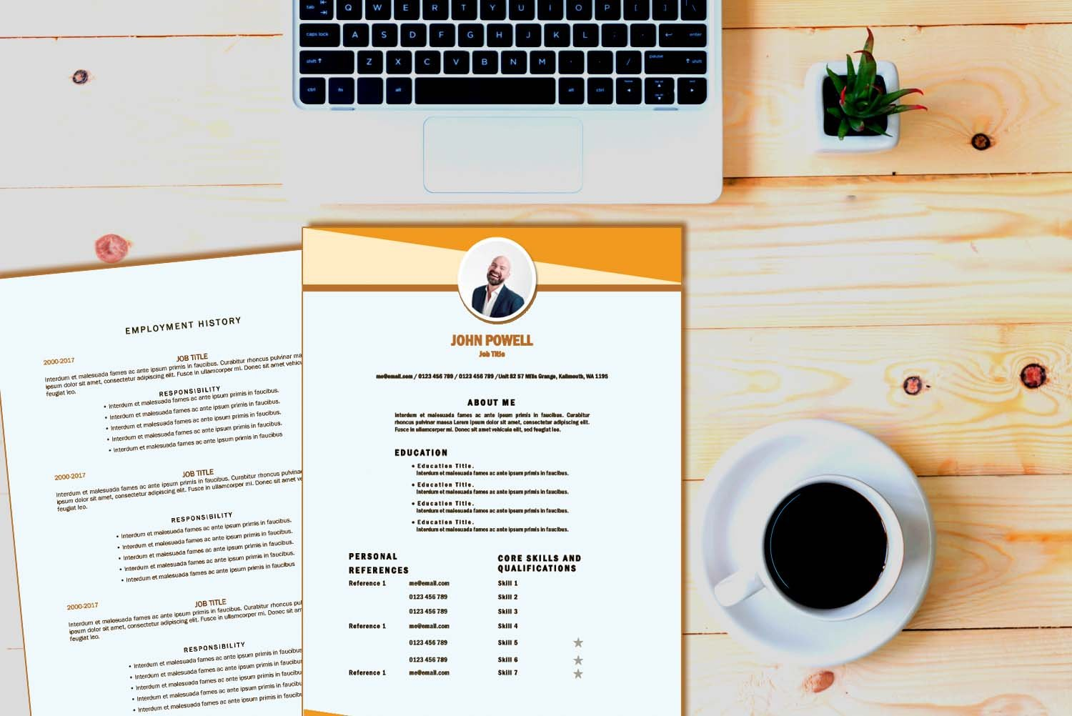 Toronto Orange Word Resume Template