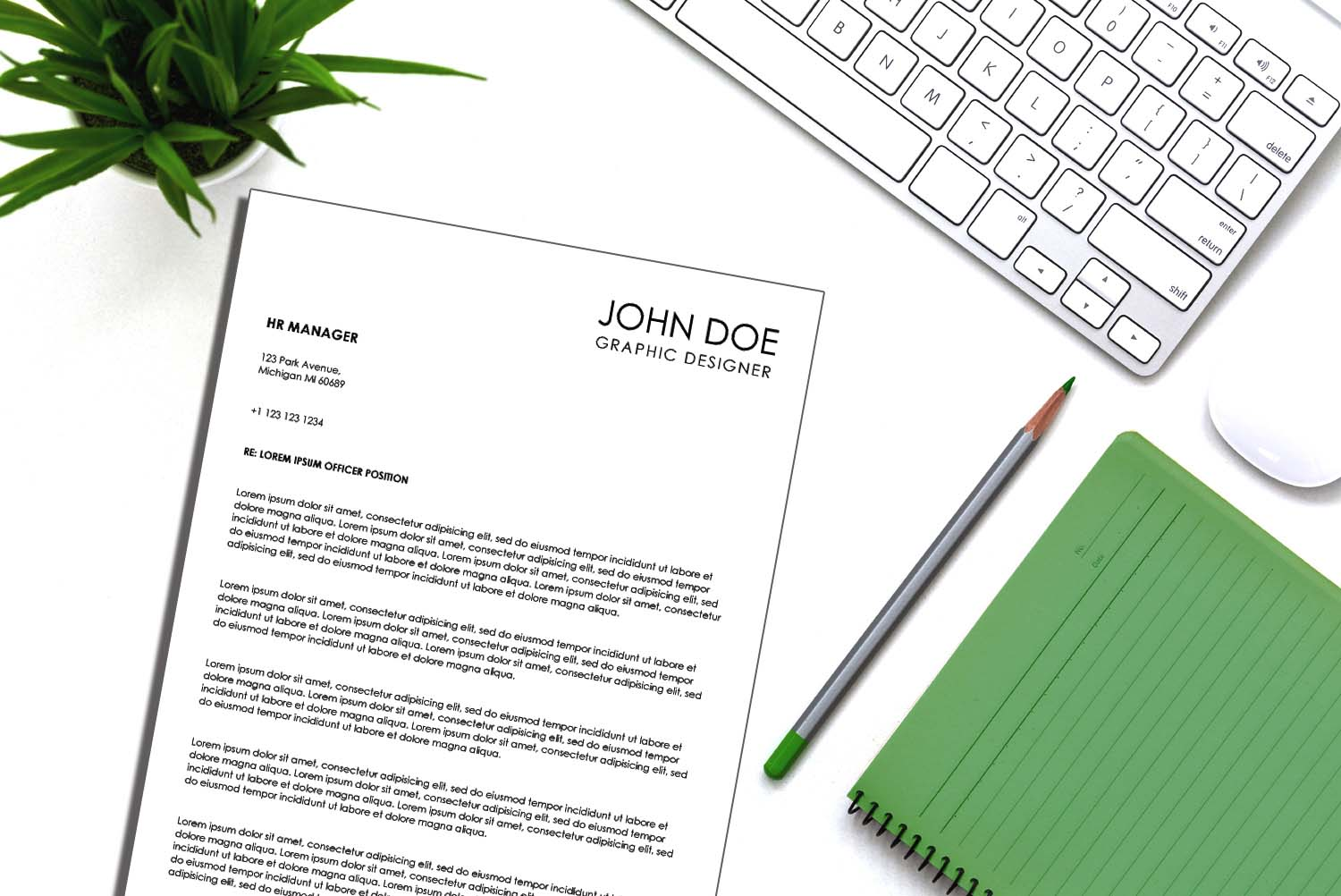 Venice Black Word Cover Letter Template
