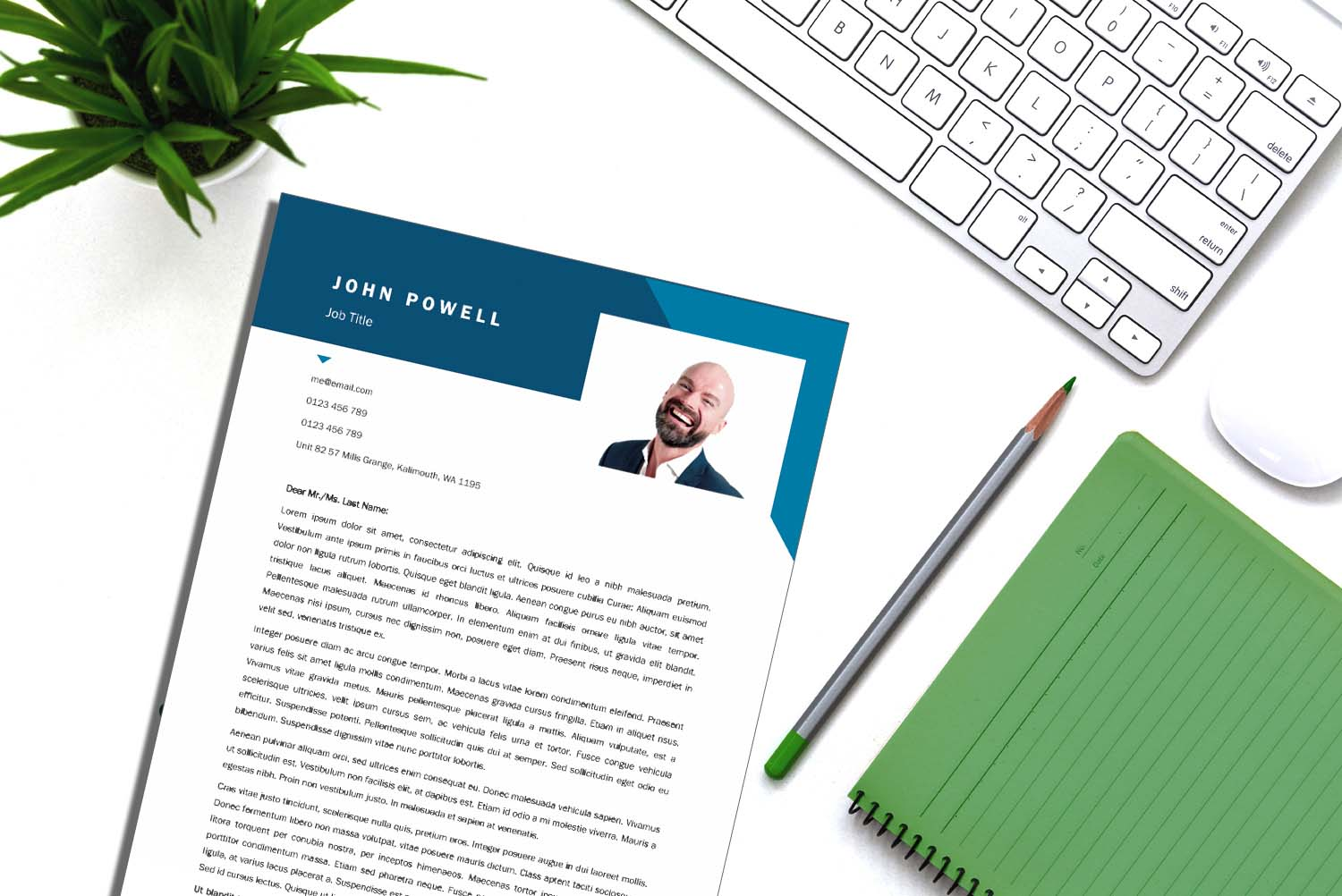 Vienna Blue Word Cover Letter Template