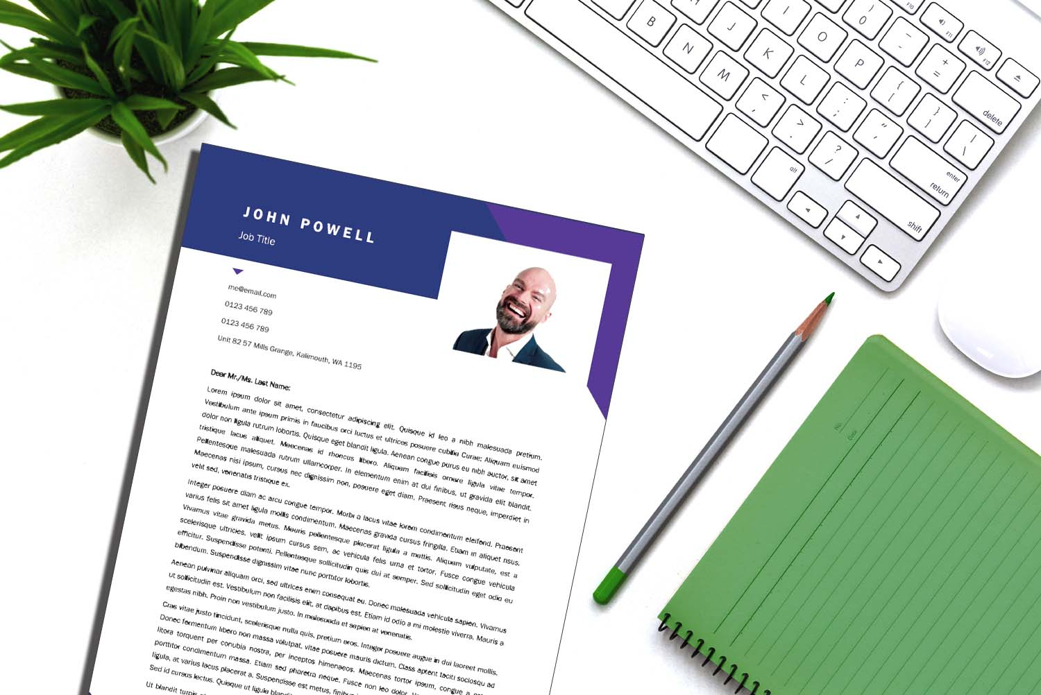 Vienna Purple Word Cover Letter Template