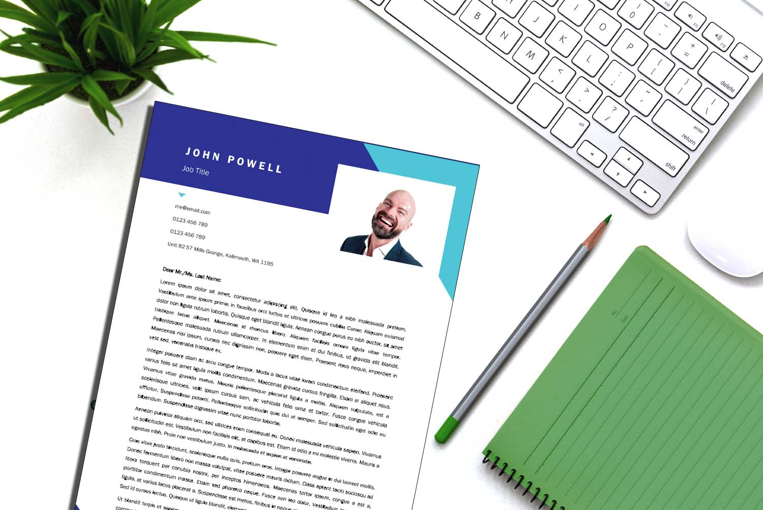 Vienna Sky Blue Word Cover Letter Template