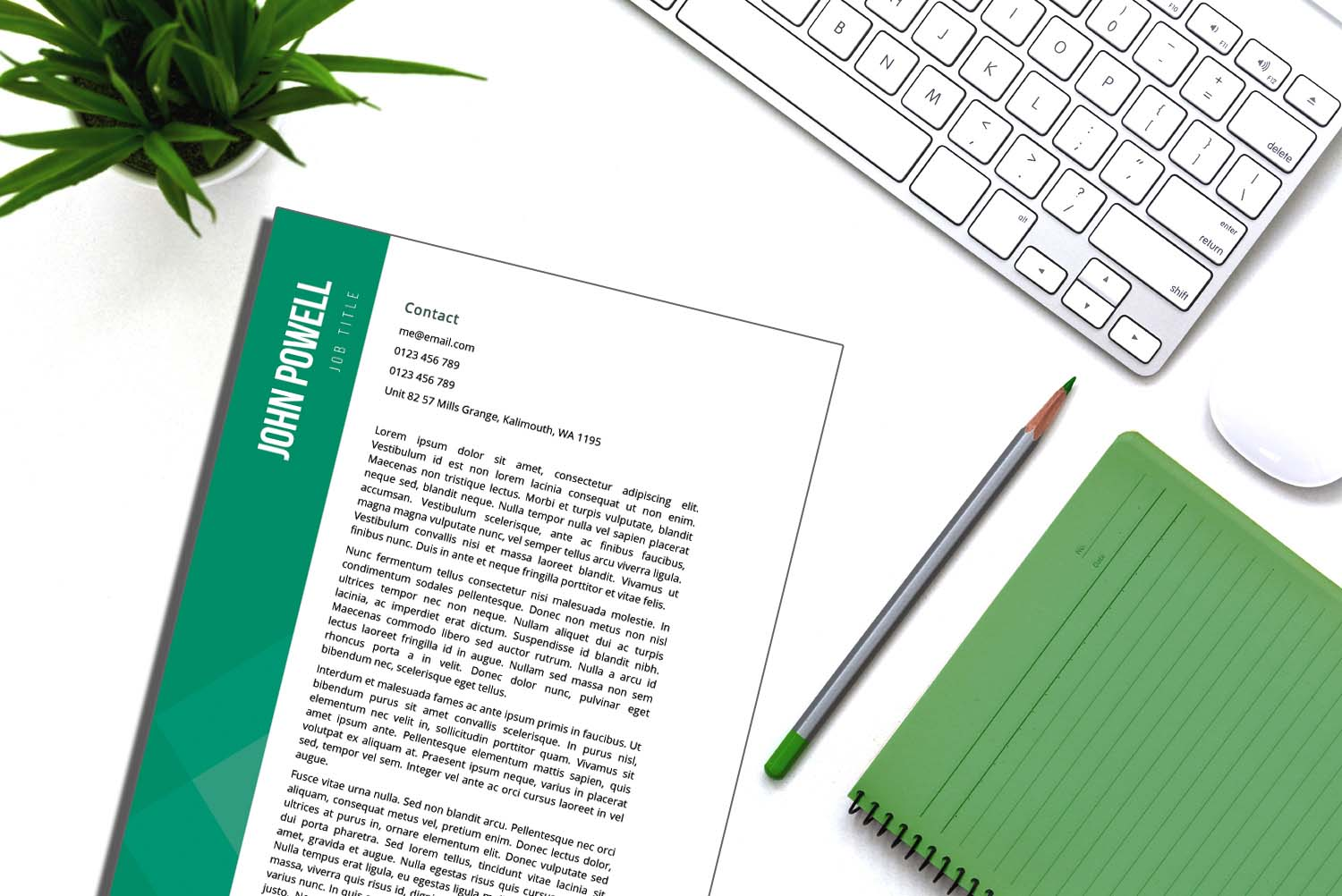 Zurich Green Word Cover Letter Template