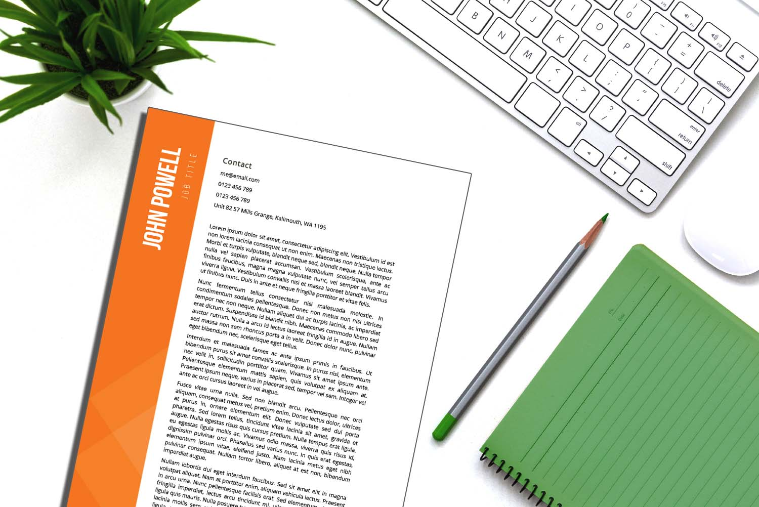 Zurich Orange Word Cover Letter Template