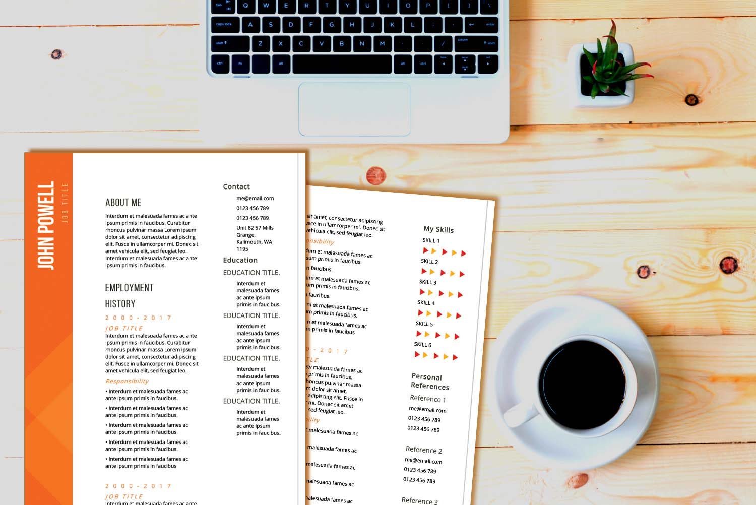Zurich Orange Word Resume Template
