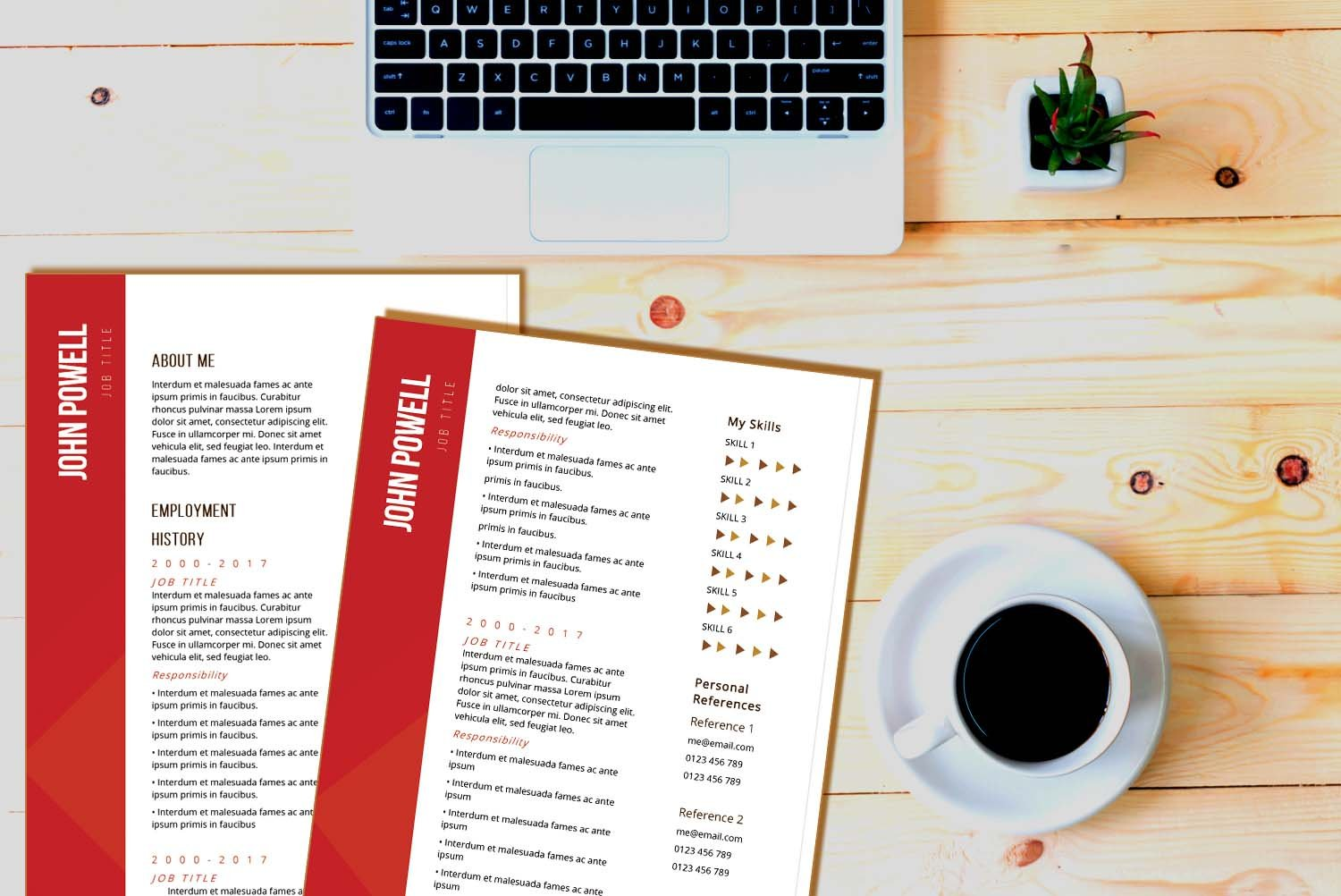 Zurich Red Word Resume Template