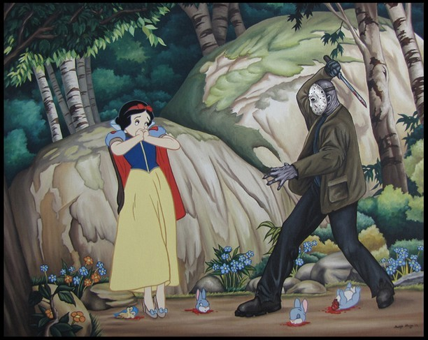 Snow White attacked by Jason from Psycho.